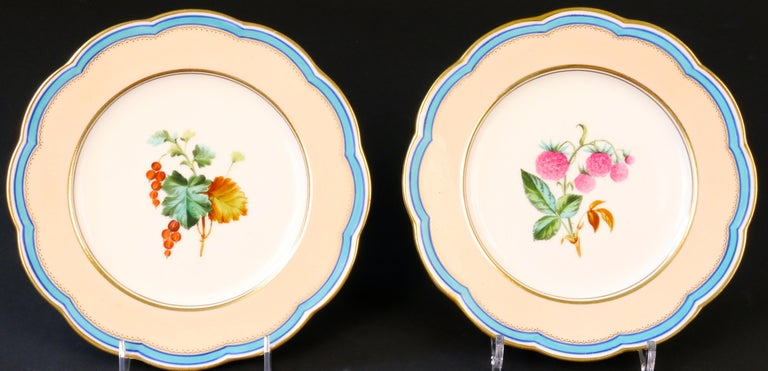 Late 19th Century 19th Century Davenport, England Hand-Painted Dessert Service For Sale