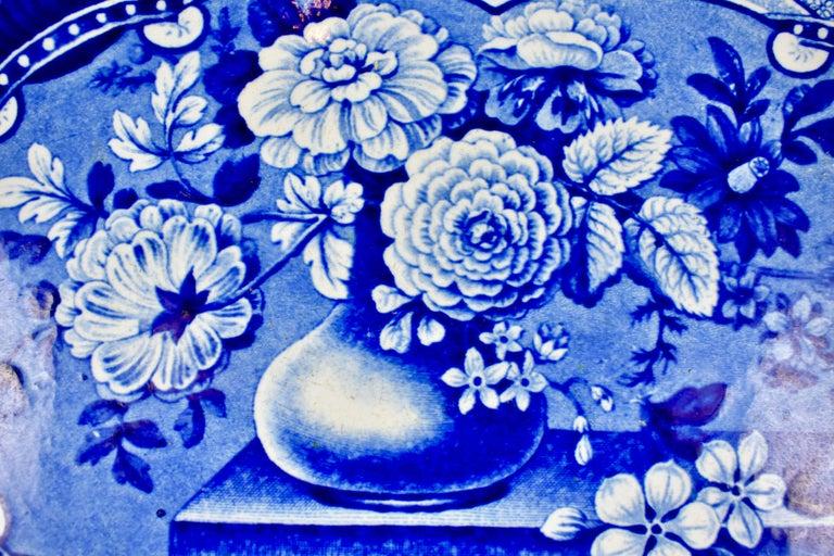 Georgian 19th Century Davenport English Staffordshire Floral Vases Transferware Platter For Sale