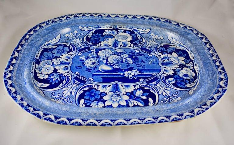 Glazed 19th Century Davenport English Staffordshire Floral Vases Transferware Platter For Sale