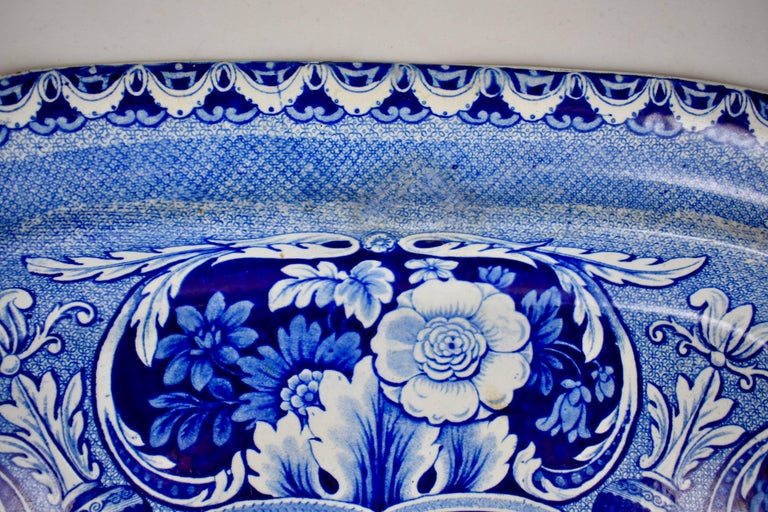 19th Century Davenport English Staffordshire Floral Vases Transferware Platter In Good Condition For Sale In Philadelphia, PA