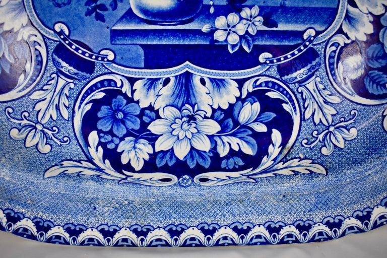 Earthenware 19th Century Davenport English Staffordshire Floral Vases Transferware Platter For Sale