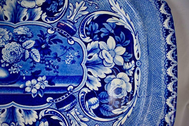 19th Century Davenport English Staffordshire Floral Vases Transferware Platter For Sale 1