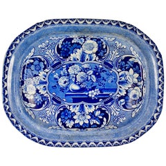 19th Century Davenport English Staffordshire Floral Vases Transferware Platter