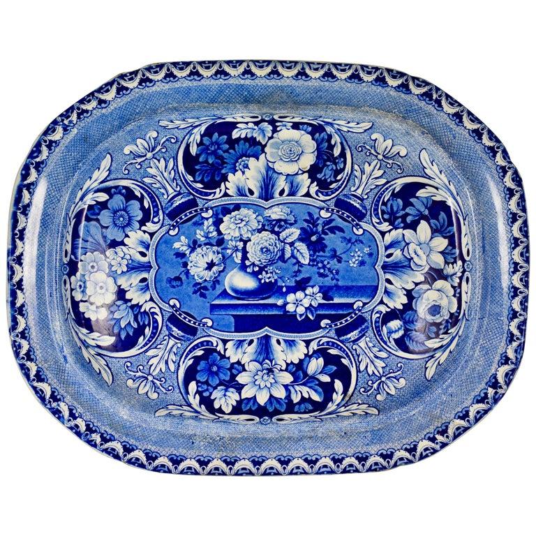 19th Century Davenport English Staffordshire Floral Vases Transferware Platter For Sale