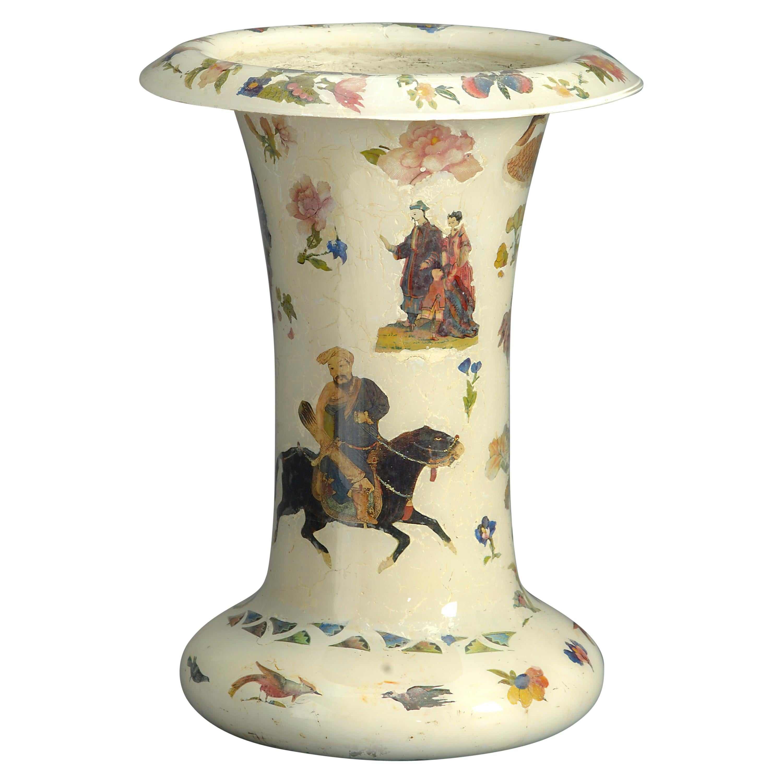 19th Century Decalcomania Trumpet Vase