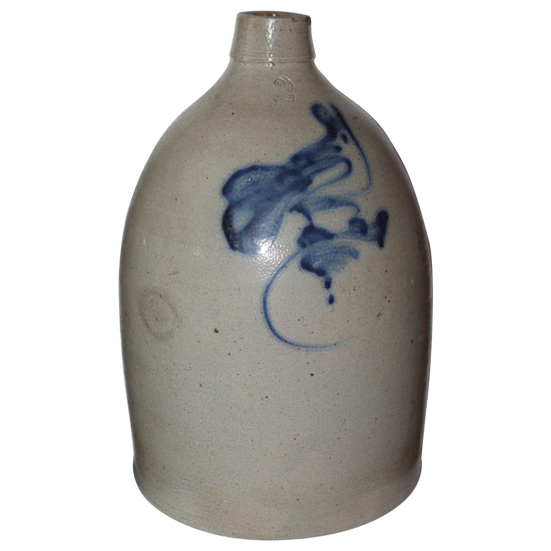 19th Century Decorated Bird Stoneware Jug