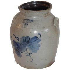 19th Century Decorated Stoneware Canadian Crock
