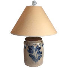 19th Century Decorated Stoneware Crock Lamp