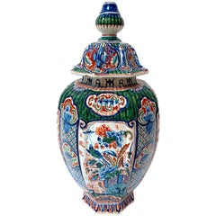 19th Century Delftware Polychrome Enameled Vase and Cover
