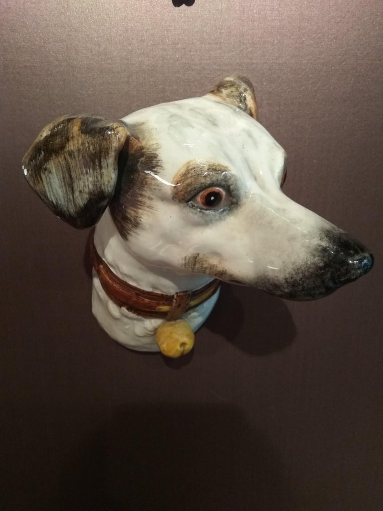 French 19th Century Delphin Massier Wall Mounted Ceramic Figuring a Dog For Sale
