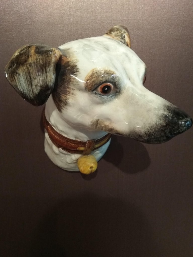Polychromed 19th Century Delphin Massier Wall Mounted Ceramic Figuring a Dog For Sale