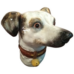19th Century Delphin Massier Wall Mounted Ceramic Figuring a Dog