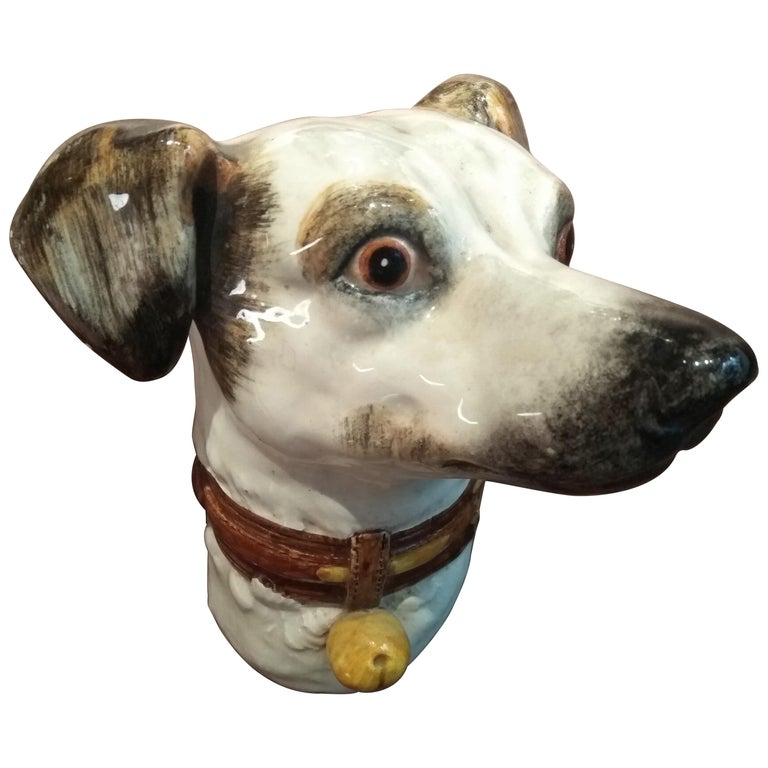 19th Century Delphin Massier Wall Mounted Ceramic Figuring a Dog For Sale