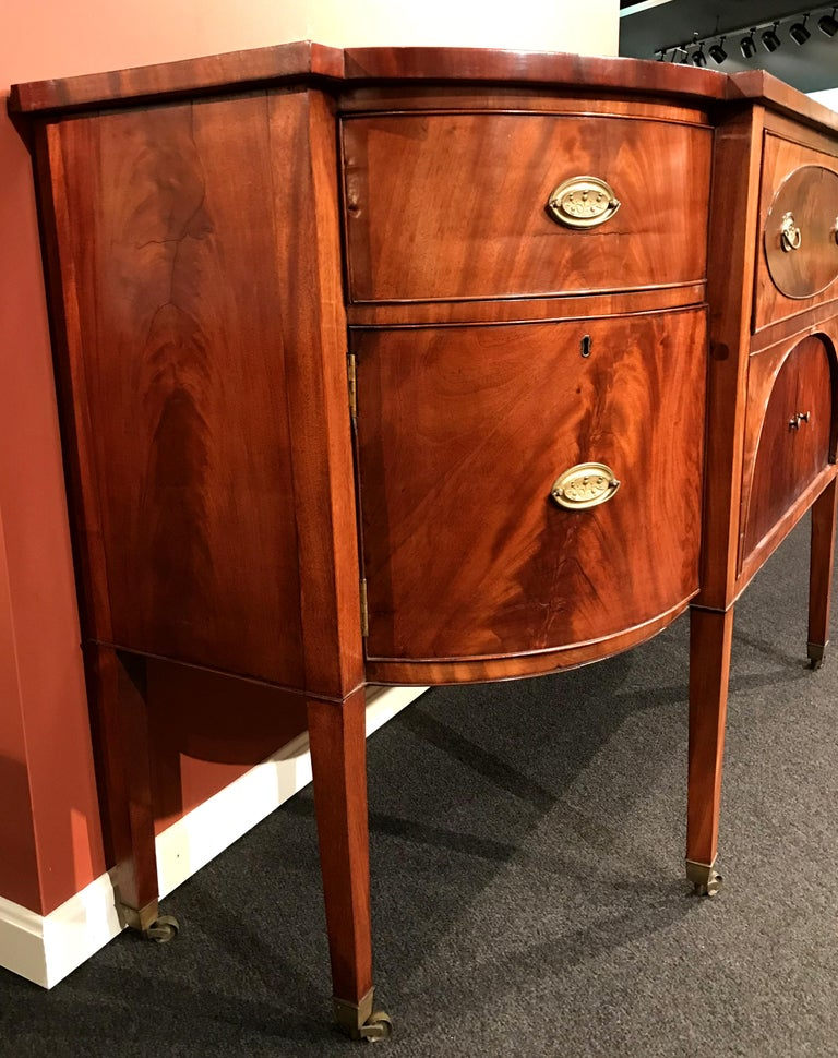 Hepplewhite 19th Century Demilune Mahogany Sideboard /Desk owned by Nathaniel Silsbee