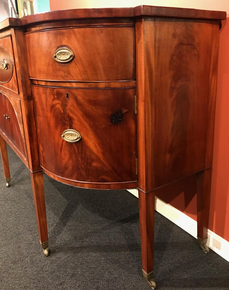 English 19th Century Demilune Mahogany Sideboard /Desk owned by Nathaniel Silsbee