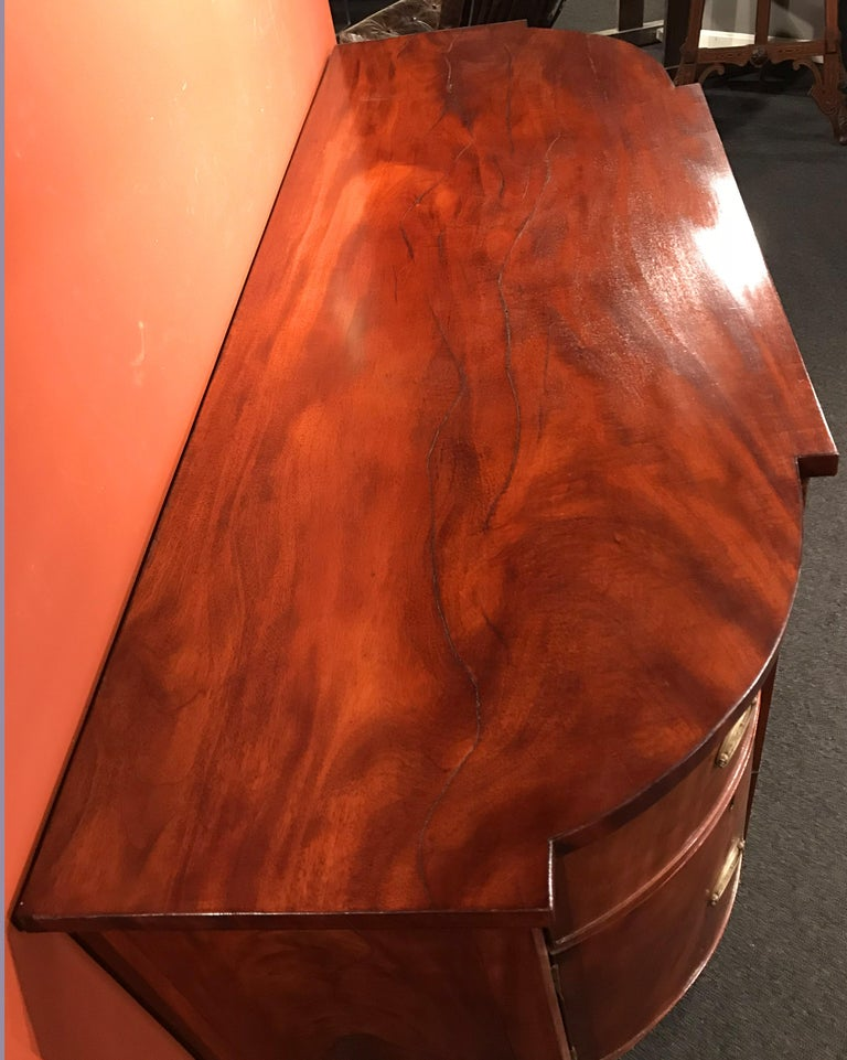 Veneer 19th Century Demilune Mahogany Sideboard /Desk owned by Nathaniel Silsbee