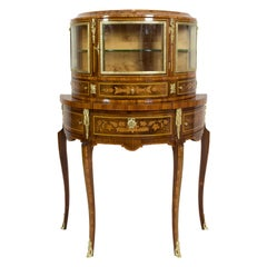 19th Century Demilune Top Display Cabinet Louis XVI Styles