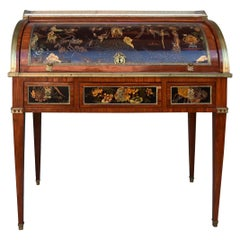 19th Century Desk with Cylinder Japanese Lacquer Decor