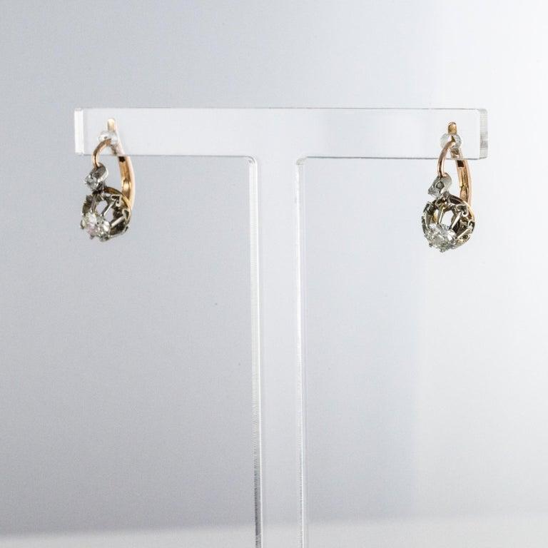 Napoleon III 19th Century Diamond 18 Karat Rose Gold Lever- Back Earrings For Sale