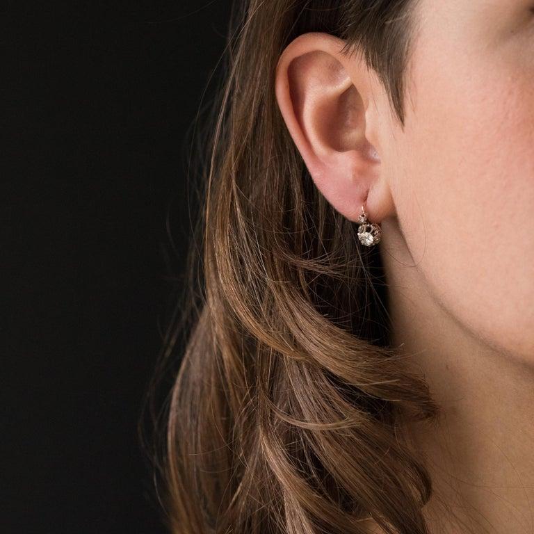 Brilliant Cut 19th Century Diamond 18 Karat Rose Gold Lever- Back Earrings For Sale