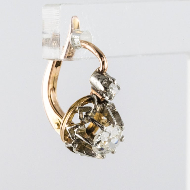 19th Century Diamond 18 Karat Rose Gold Lever- Back Earrings In Good Condition For Sale In Poitiers, FR