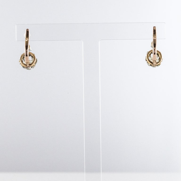 Women's 19th Century Diamond 18 Karat Rose Gold Lever- Back Earrings For Sale