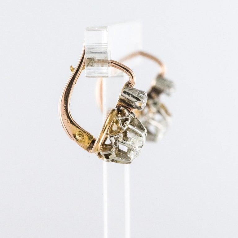 19th Century Diamond 18 Karat Rose Gold Lever- Back Earrings For Sale 1