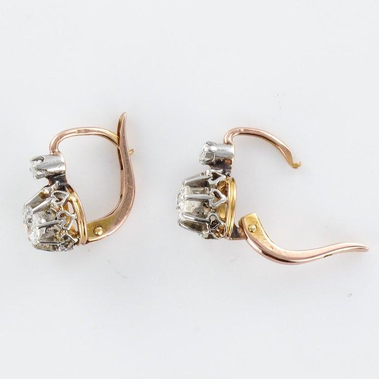 19th Century Diamond 18 Karat Rose Gold Lever- Back Earrings For Sale 2