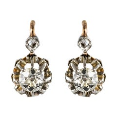 19th Century Diamond 18 Karat Rose Gold Lever- Back Earrings