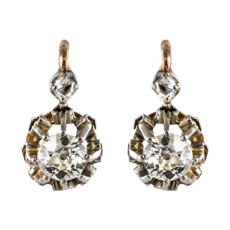 19th Century Diamond 18 Karat Rose Gold Lever- Back Earrings For Sale