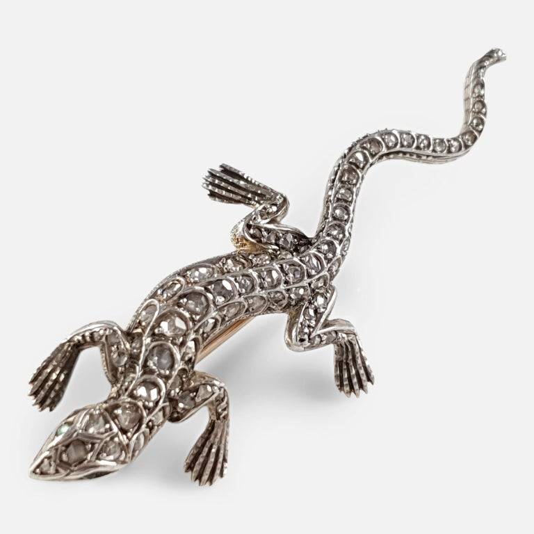 Rose Cut 19th Century Diamond and Emerald Lizard Brooch, circa 1895 For Sale