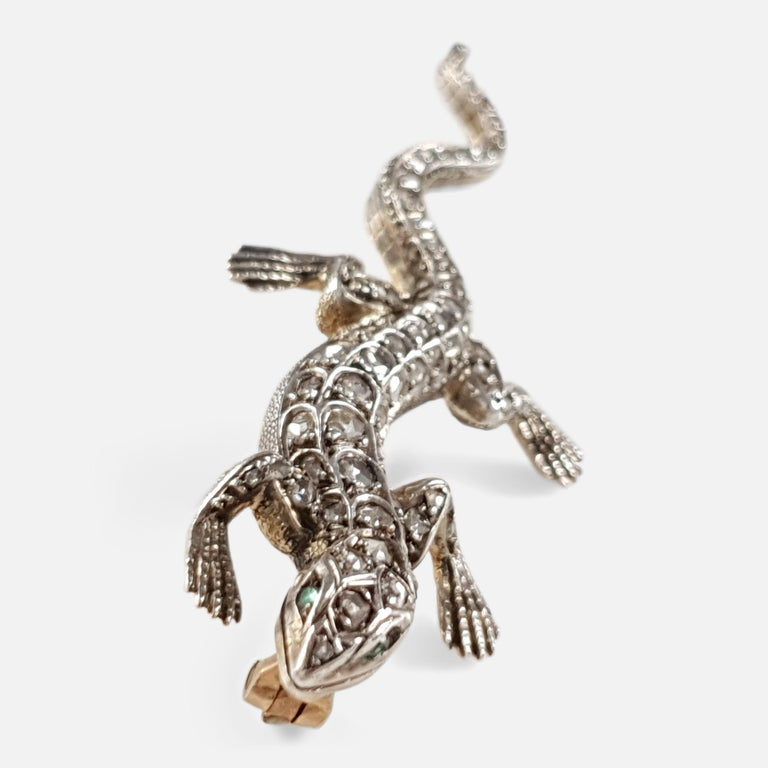 19th Century Diamond and Emerald Lizard Brooch, circa 1895 In Good Condition For Sale In Glasgow, GB