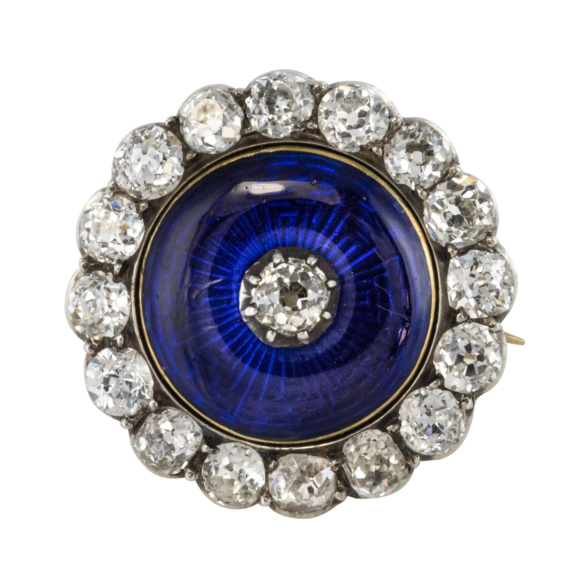 19th Century Diamond Blue Enamel Yellow White Gold Brooch