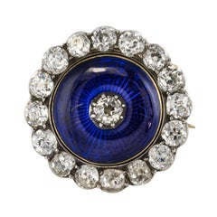 19th Century Diamond Blue Enamel Yellow White Gold Brooch