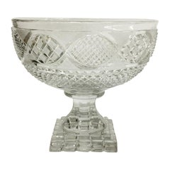 19th Century Diamond Pattern Cut Glass Fruit Bowl Raised on Square Foot