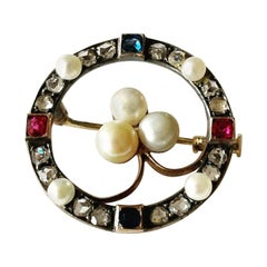 19th Century Diamond Ruby Sapphire and Pearls 18k Yellow Gold Brooch