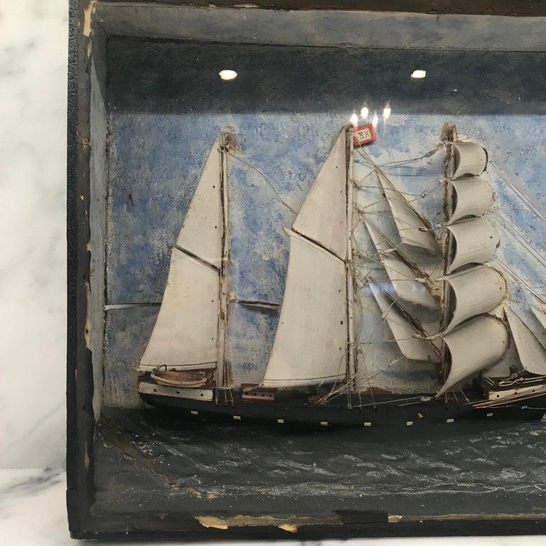 French 19th Century Diorama Shadow Box of Sailing Vessel