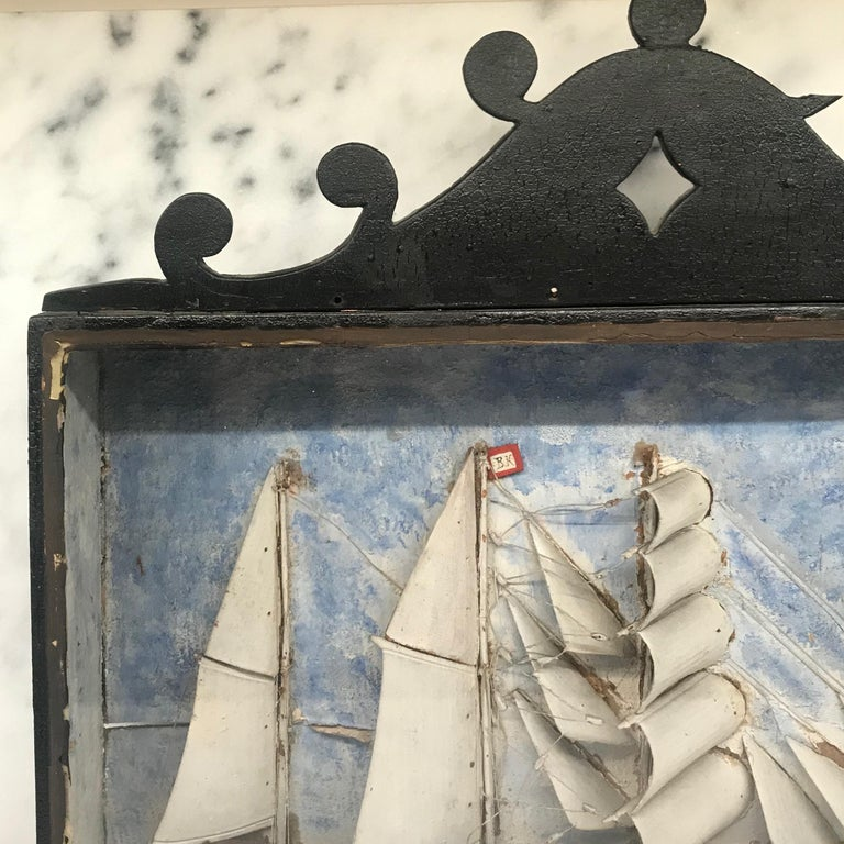 19th Century Diorama Shadow Box of Sailing Vessel In Excellent Condition In Hopewell, NJ