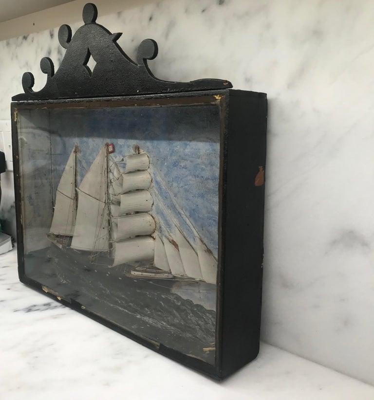 Glass 19th Century Diorama Shadow Box of Sailing Vessel