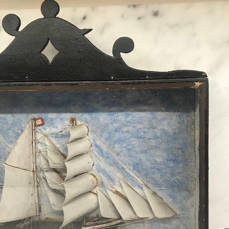 19th Century Diorama Shadow Box of Sailing Vessel 1