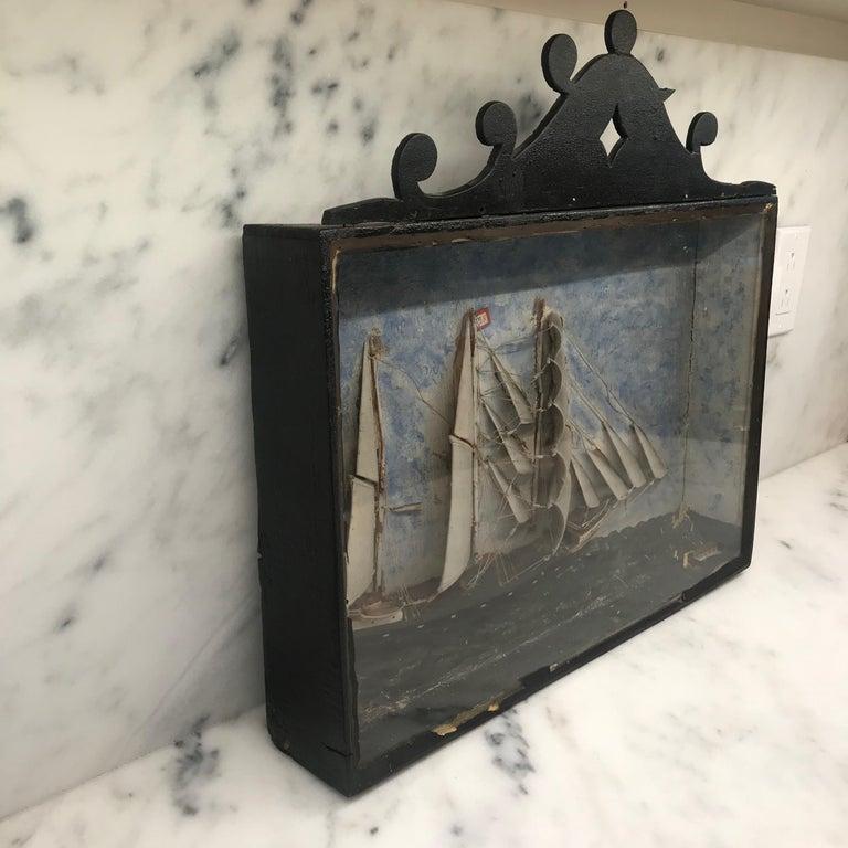 19th Century Diorama Shadow Box of Sailing Vessel 2