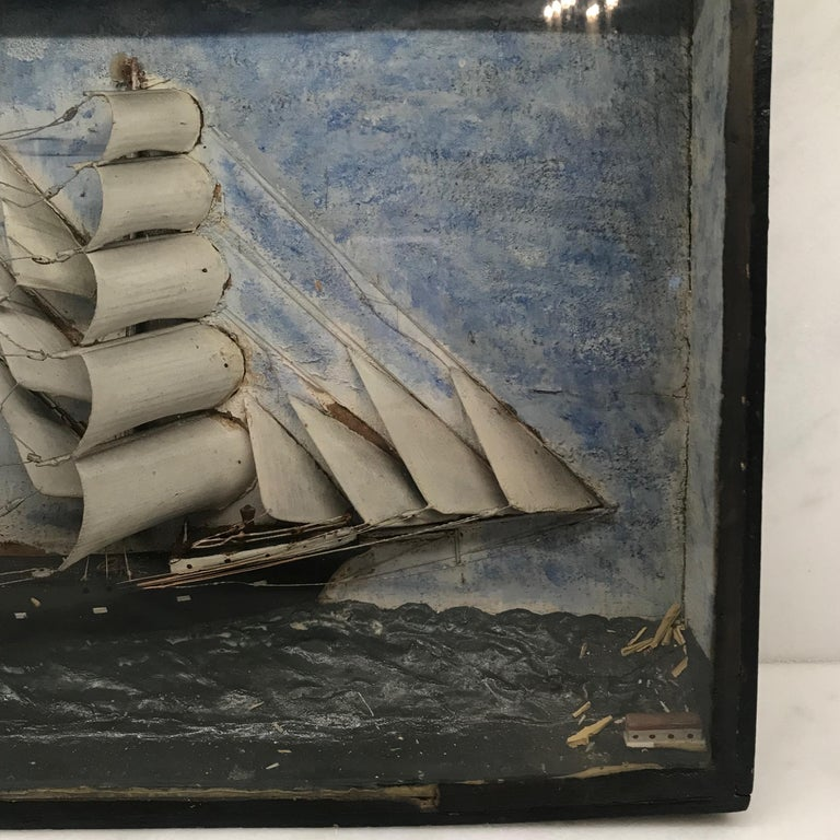 19th Century Diorama Shadow Box of Sailing Vessel 3