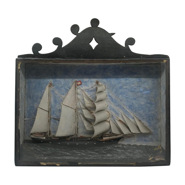 19th Century Diorama Shadow Box of Sailing Vessel