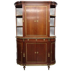 Maison Jansen 1890s Mahogany French Directoire China Display Cabinet Vitrine