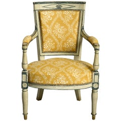 19th Century Directoire Style Painted Fauteuil Armchair