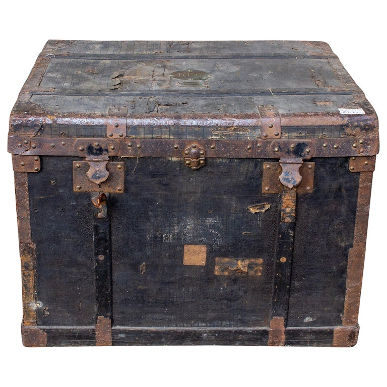 19th Century Distressed Black Canvas and Leather Trunk with Monogrammed Detail For Sale