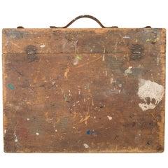 19th Century Distressed Wooden Artist's Paint Box, circa 1890