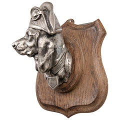 19th Century Dog in Napoleon Hat on Wooden Plaque