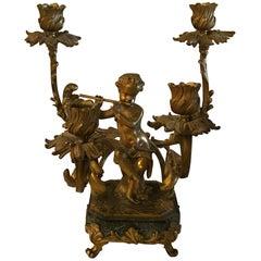 19th Century Doré Bronze Putto Candelabra