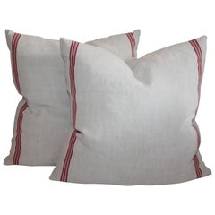 19th Century Double Sided Red & White Linen Pillows, Pair